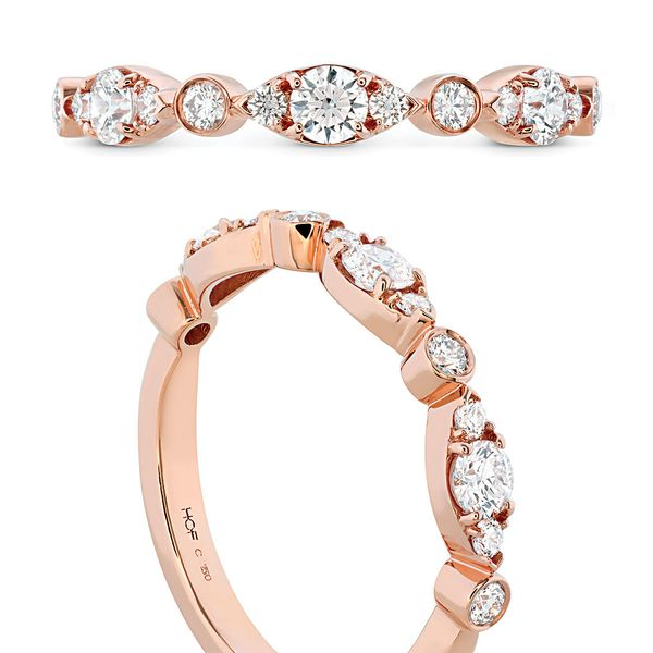 Hearts On Fire Bezel Regal Diamond Wedding Ring in Rose Gold Image 4 Bremer Jewelry Peoria, IL