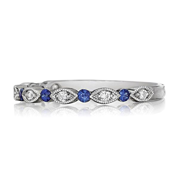 Henri Daussi White Gold Sapphire and Diamond Wedding Band Image 2 Bremer Jewelry Peoria, IL