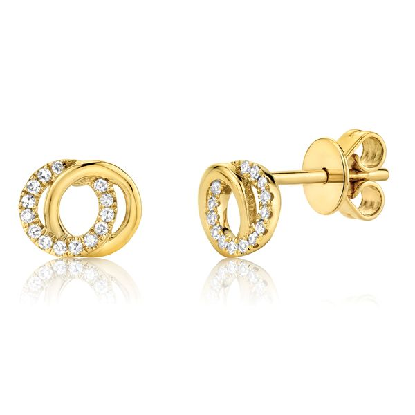 You + Me Earrings with Diamonds in Yellow Gold Bremer Jewelry Peoria, IL