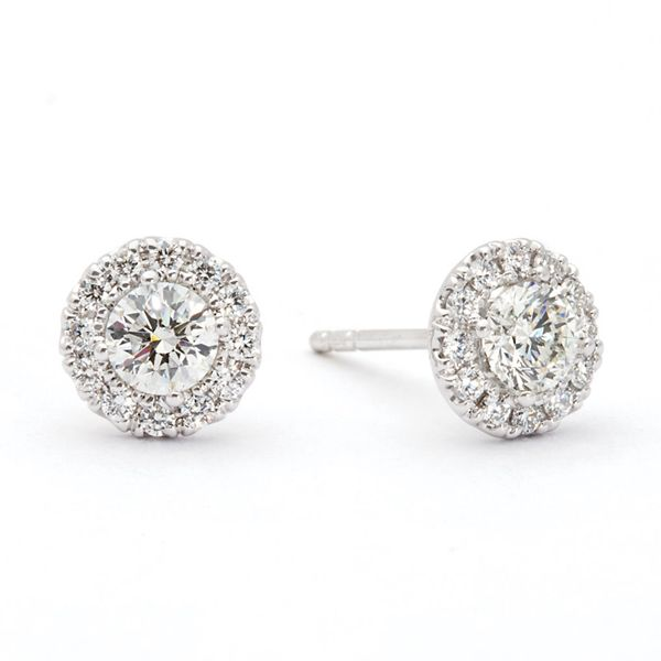 Center Of My World Diamond Halo Stud Earrings in White Gold Bremer Jewelry Peoria, IL