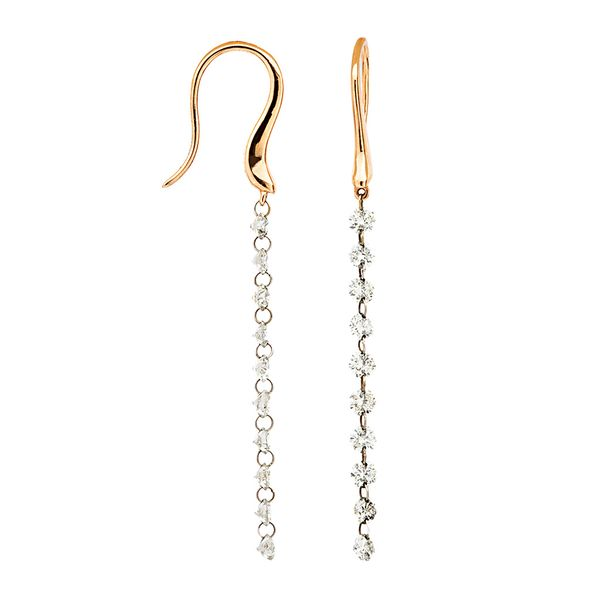 Drilled Diamond Long Dangle Earrings in Rose Gold Bremer Jewelry Peoria, IL