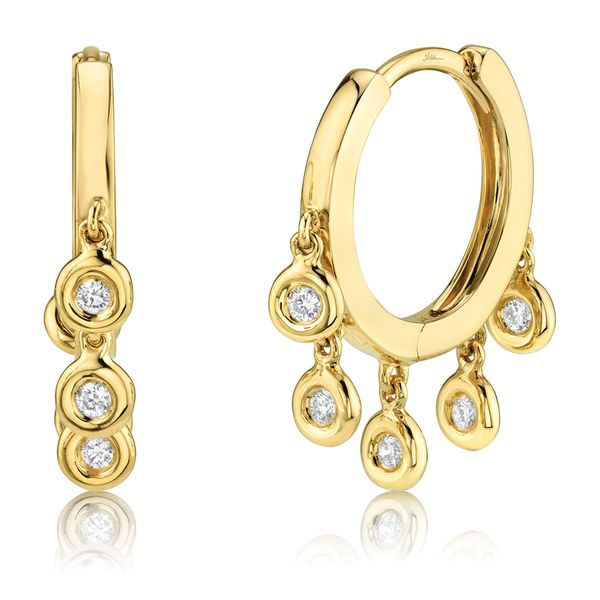 Milestones Hoop Earrings with Diamond Bezel Fringe in Yellow Gold Bremer Jewelry Peoria, IL