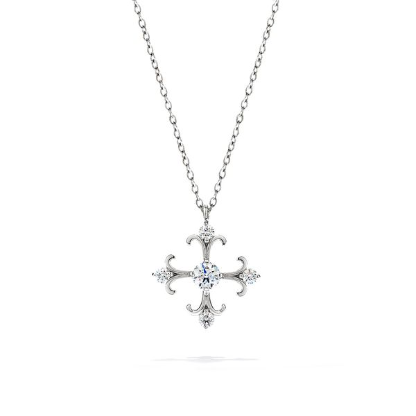 Hearts On Fire Fairy Tale Diamond Cross Necklace in White Gold Bremer Jewelry Peoria, IL