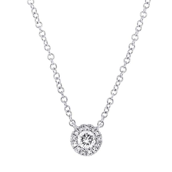 Center Of My World Single Diamond Halo Necklace in White Gold Bremer Jewelry Peoria, IL