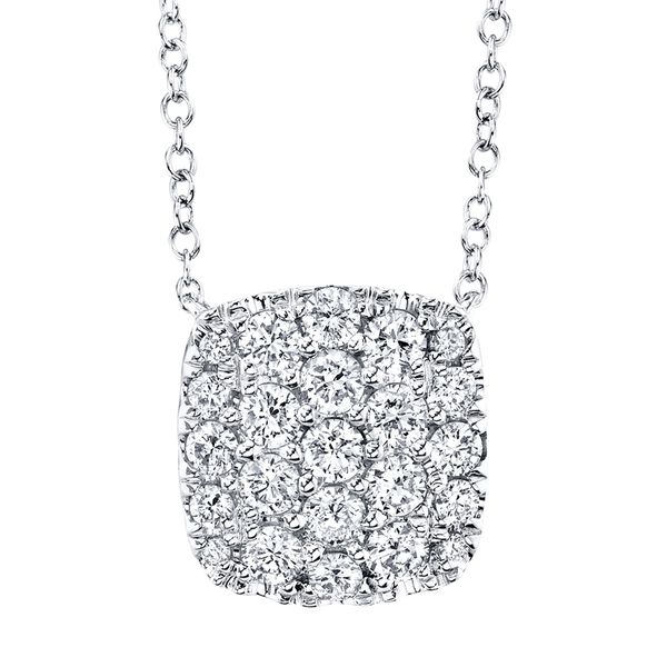 Cushion-Shaped Diamond Cluster Necklace in White Gold Bremer Jewelry Peoria, IL