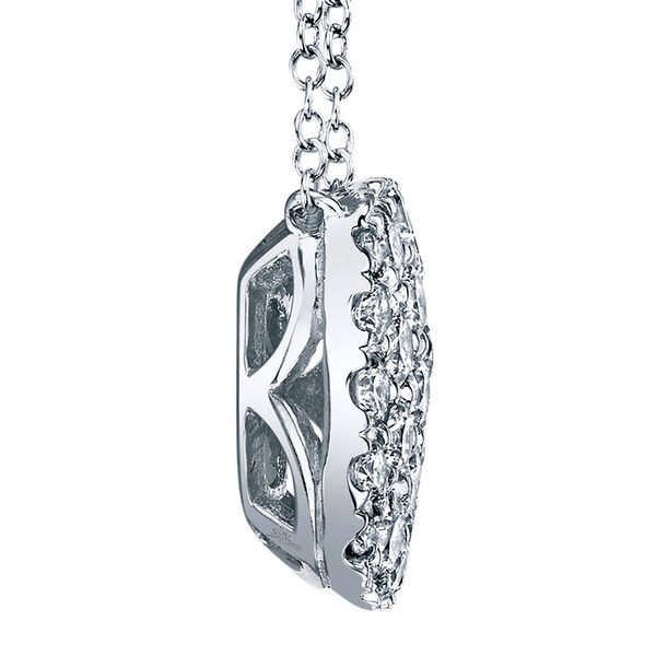 Cushion-Shaped Diamond Cluster Necklace in White Gold Image 4 Bremer Jewelry Peoria, IL
