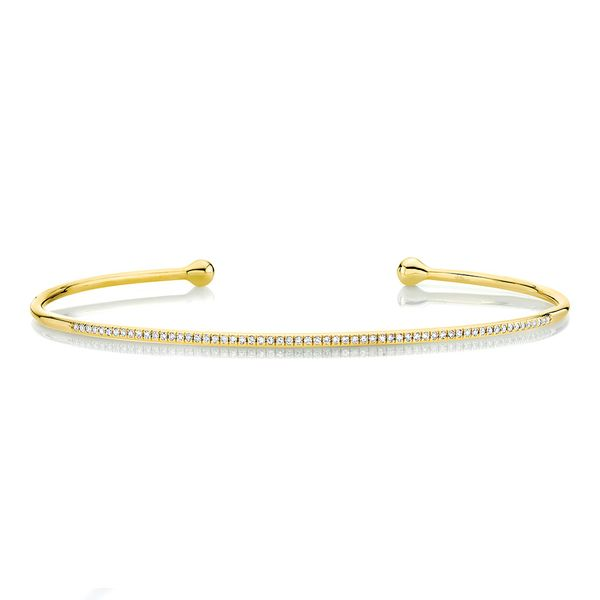 Flexible Open Diamond Bangle Bracelet in Yellow Gold Bremer Jewelry Peoria, IL