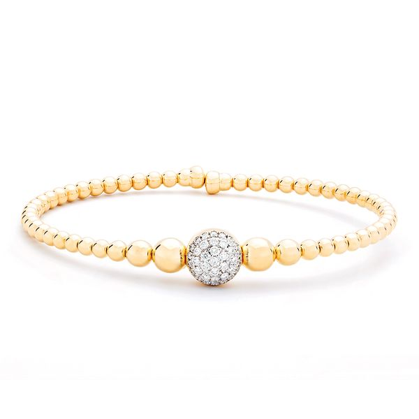 Flexible Diamond Bangle Bracelet in Yellow Gold Bremer Jewelry Peoria, IL