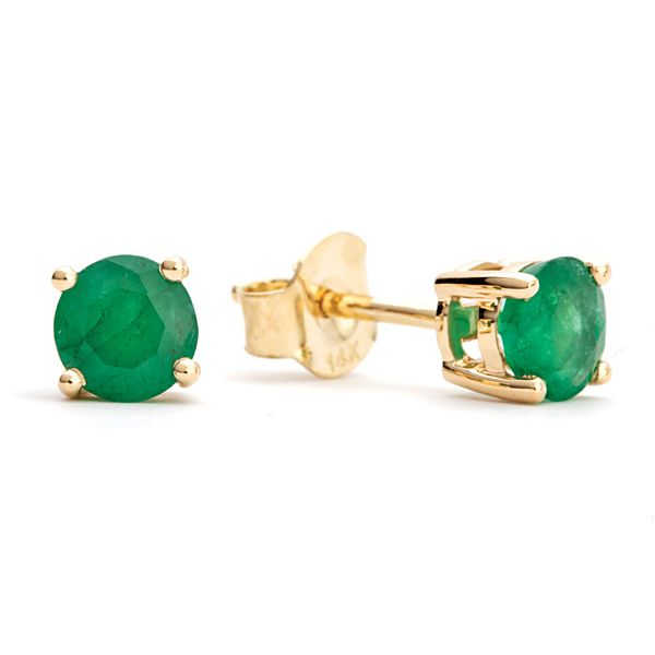 BeColorful Emerald Stud Earrings in Yellow Gold Bremer Jewelry Peoria, IL