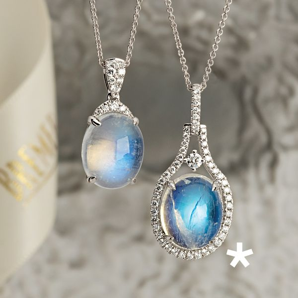 BeColorful Oval Moonstone and Diamond Necklace in White Gold Image 2 Bremer Jewelry Peoria, IL