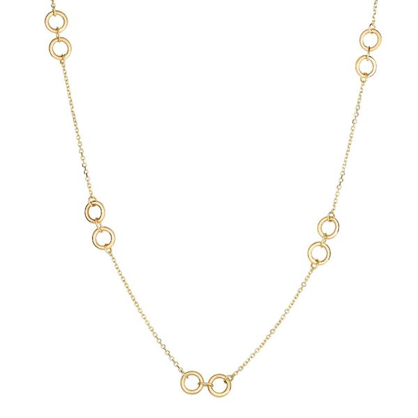 You Are My Sunshine Interlocking Rings Station Necklace in Yellow Gold Bremer Jewelry Peoria, IL