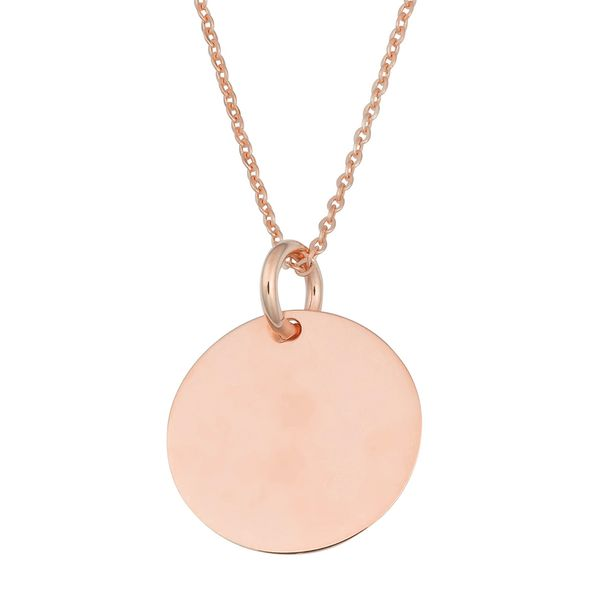 Mini Engravable Disc Necklace in Rose Gold Bremer Jewelry Peoria, IL