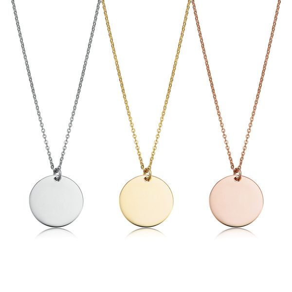 Mini Engravable Disc Necklace in Rose Gold Image 4 Bremer Jewelry Peoria, IL