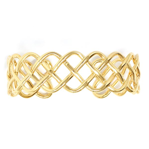 You Are My Sunshine Woven Cuff Bracelet in Yellow Gold Bremer Jewelry Peoria, IL