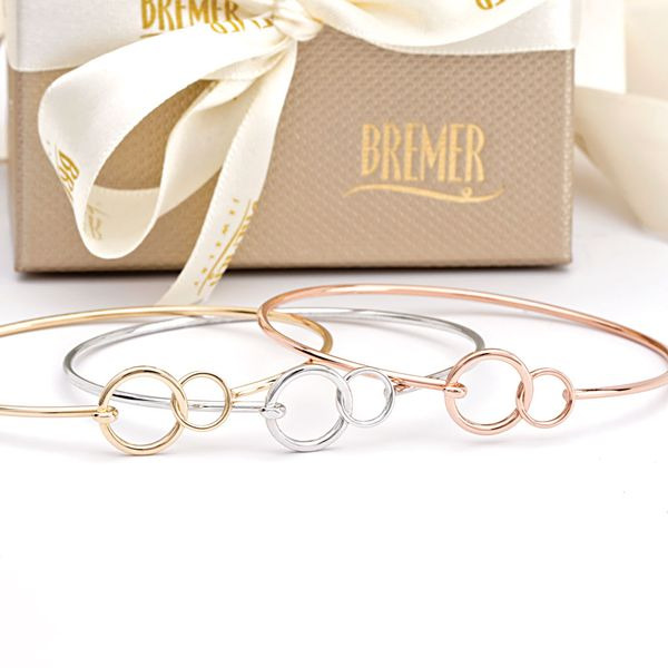 You + Me Plain Bangle Bracelet in White Gold Image 3 Bremer Jewelry Peoria, IL