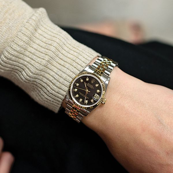 Pre,Owned Rolex Datejust 31mm Two,Tone Diamond Watch