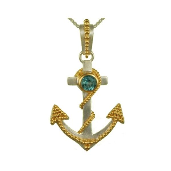 Colored Stone Anchor Pendant Brynn Elizabeth Jewelers Ocean Isle Beach, NC