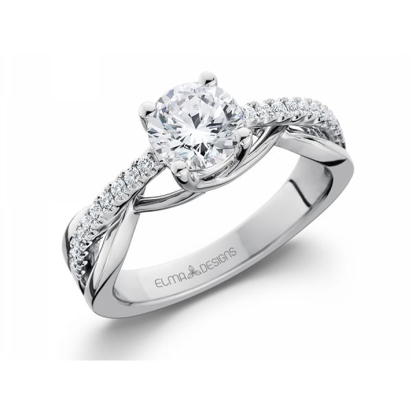 18k white gold engagement ring set with 0.17 carats of diamonds (excluding center stone)