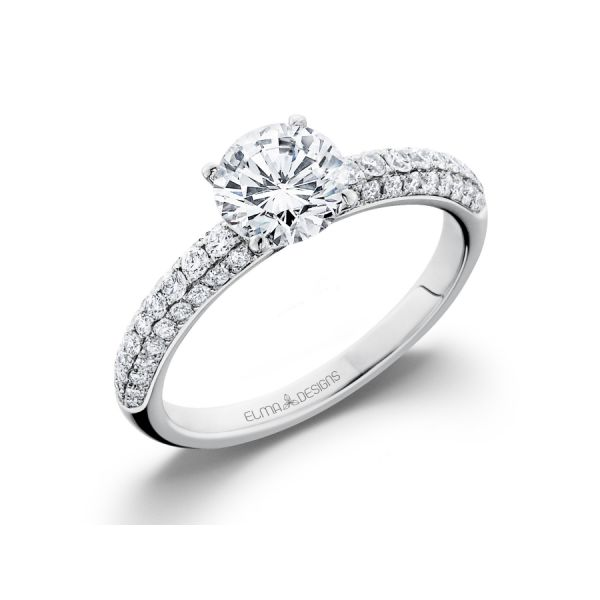 18k white gold engagement ring set with 0.44 carats of diamonds (excluding center stone)
