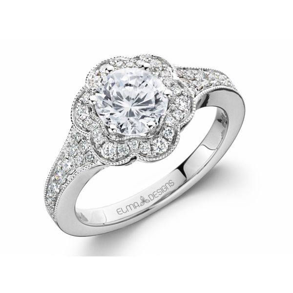 18k white gold engagement ring set with 0.37 carats of diamonds (excluding center stone)