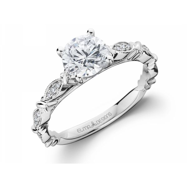 18k white gold engagement ring set with 0.07 carats of diamonds (excluding center stone)