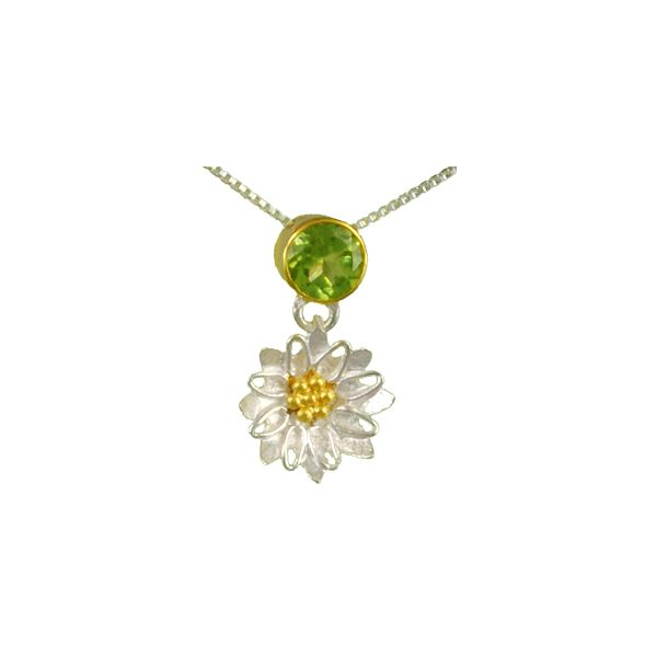 Peridot Flower Dangle Michou Necklace Clater Jewelers Louisville, KY