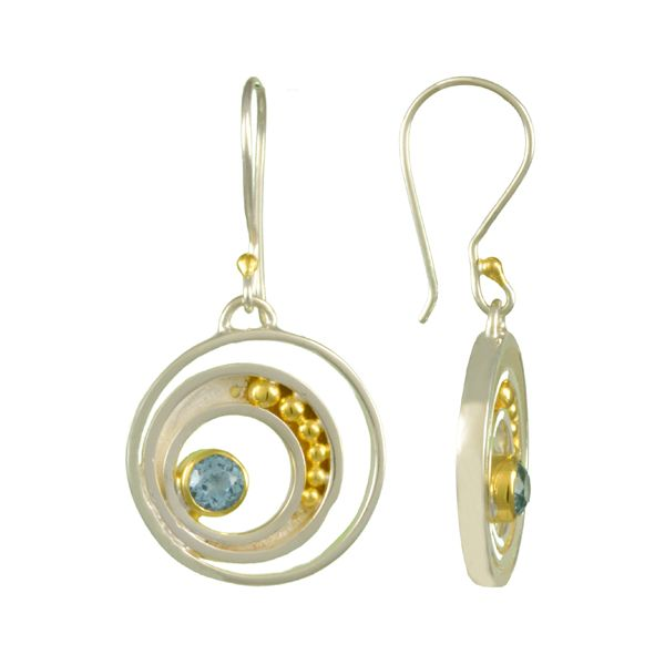 Blue Topaz Michou Circle Earrings Clater Jewelers Louisville, KY