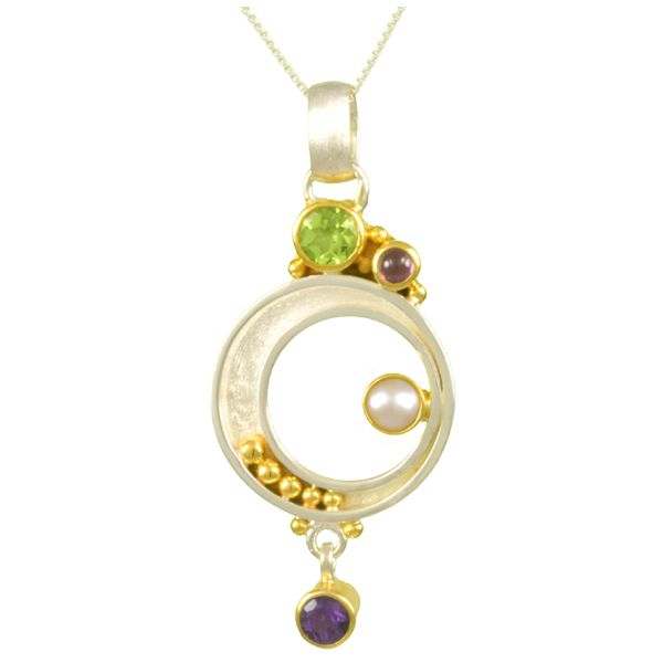 Peridots, Rhodolite Garnets, Amethyst and Pearl Michou Necklace Clater Jewelers Louisville, KY