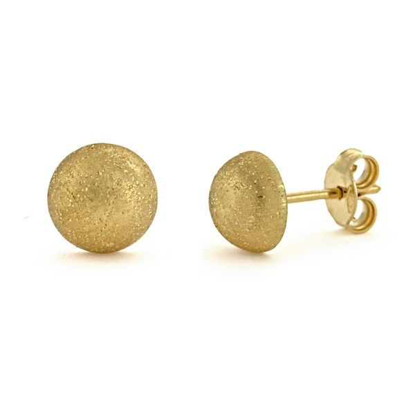 Next Generation Brushed Button Earrings Image 2  ,