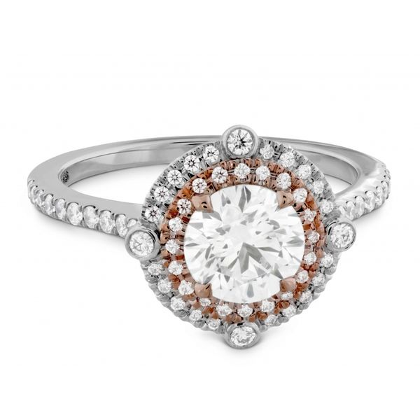 Hearts on Fire Double Halo Compass Engagement Ring Image 3  ,