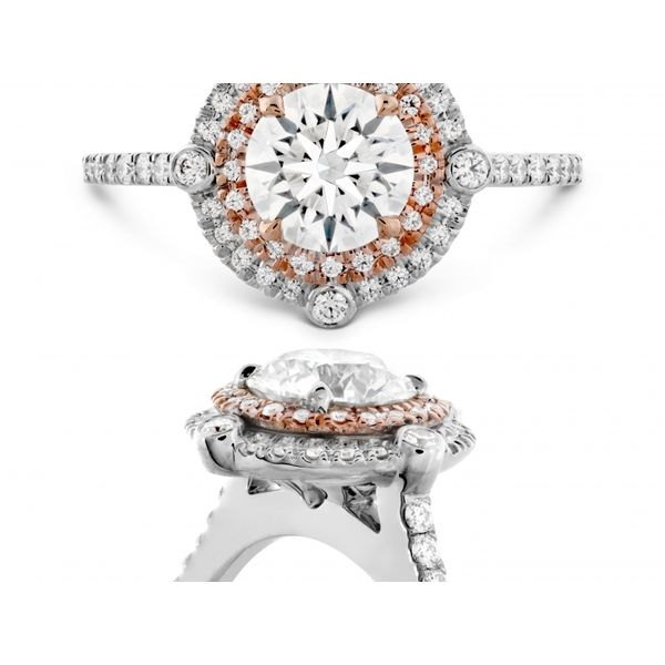 Hearts on Fire Double Halo Compass Engagement Ring Image 2  ,