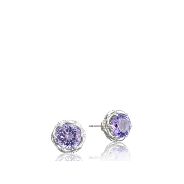 Tacori SS Classic Rock Crescent Crown Studs Image 5 Skaneateles Jewelry Skaneateles, NY