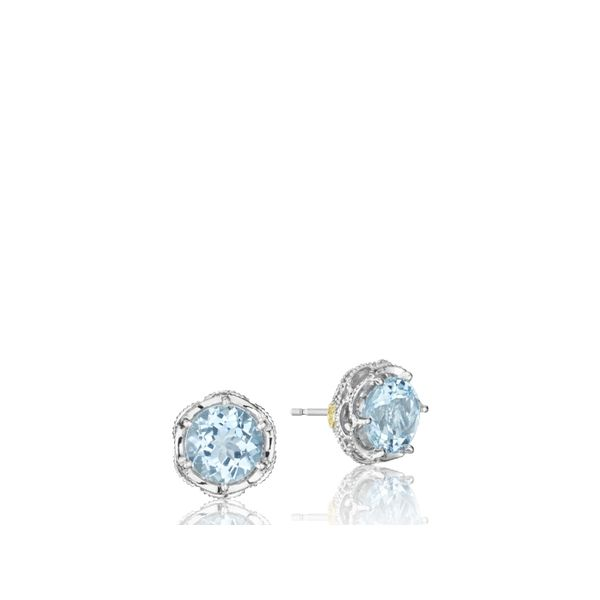 Tacori SS Classic Rock Crescent Crown Studs Image 3 Skaneateles Jewelry Skaneateles, NY