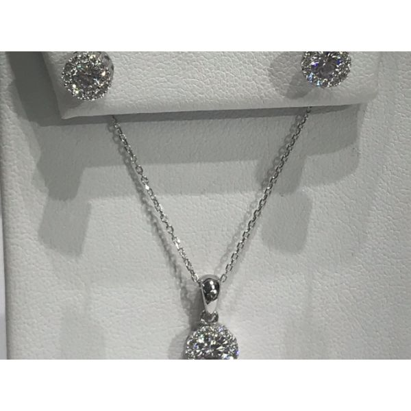 Sterling Silver Round CZ with Halo Earring and Necklace Set Confer's Jewelers Bellefonte, PA