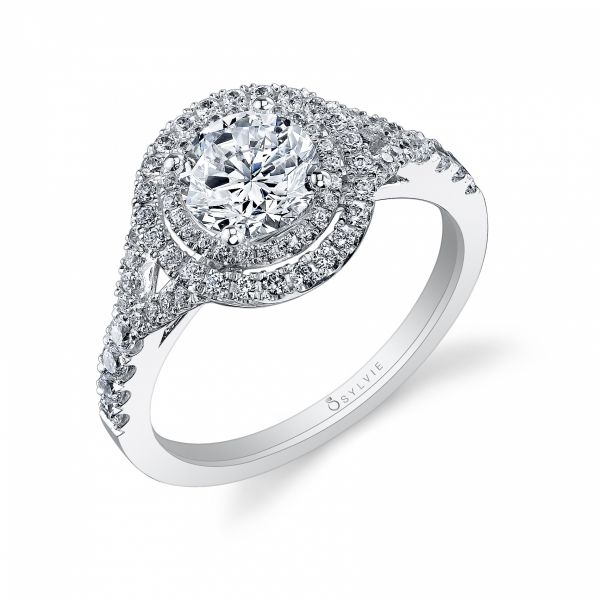 Glamorous Double Halo Diamond Engagement Ring Cottage Hill Diamonds Elmhurst, IL