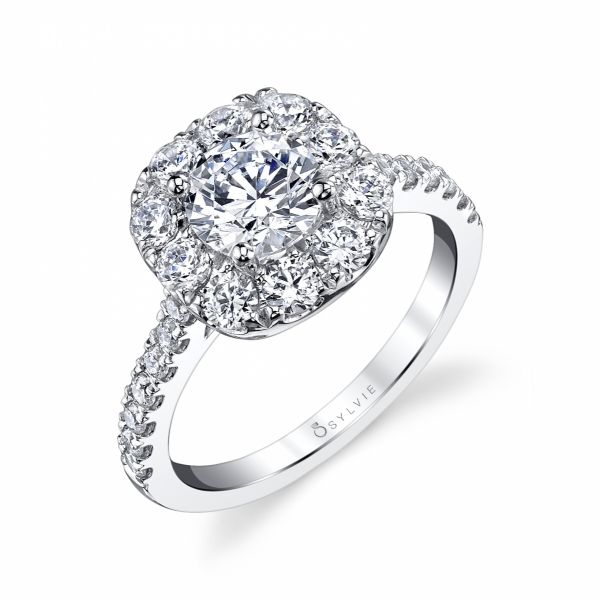 Round Diamond Engagement Ring With Cushion Halo Cottage Hill Diamonds Elmhurst, IL