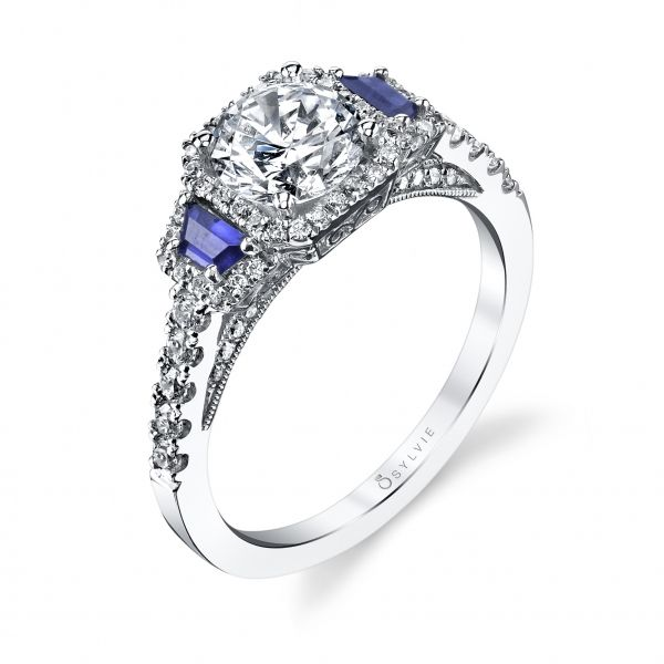 Three Stone Diamond and Blue Sapphire Engagement Ring Cottage Hill Diamonds Elmhurst, IL
