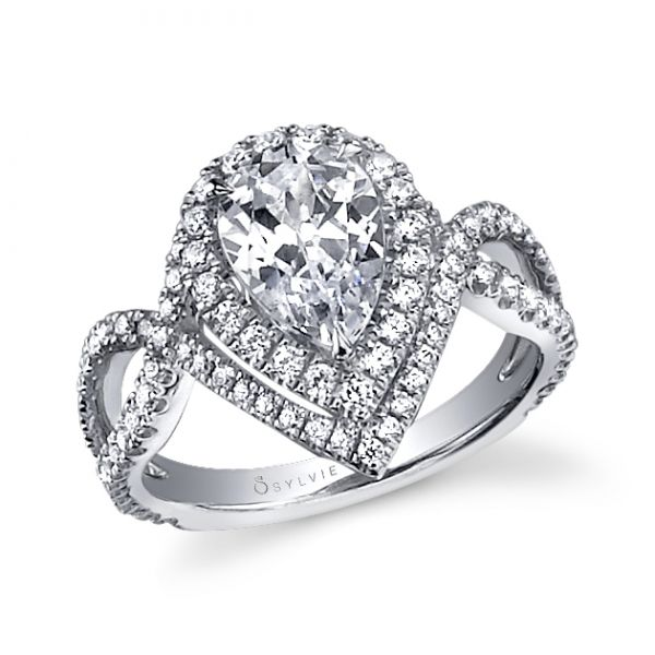 Unique Halo Pear Shape Engagement Ring Cottage Hill Diamonds Elmhurst, IL