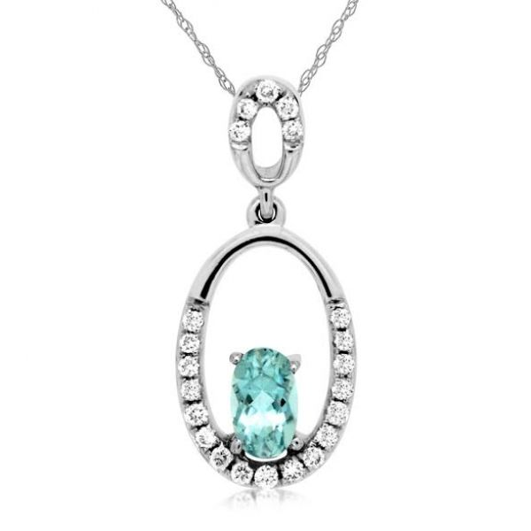 DIAMOND & AQUAMARINE PENDANT Cottage Hill Diamonds Elmhurst, IL