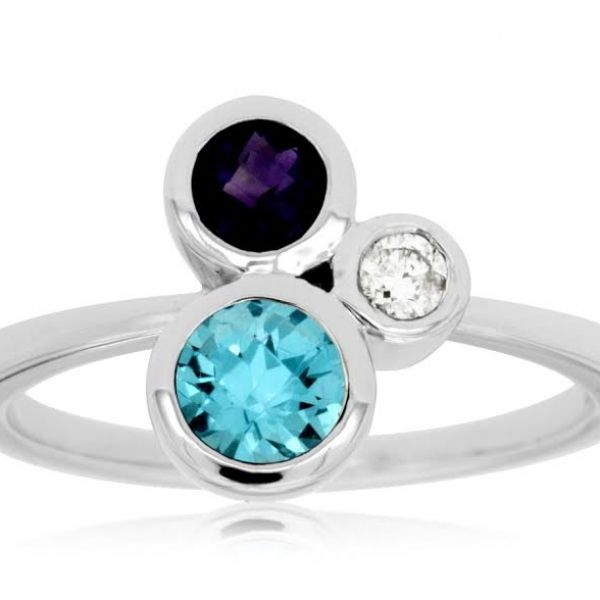 DIAMOND & AMETHYST & BLUE TOPAZ RING Cottage Hill Diamonds Elmhurst, IL