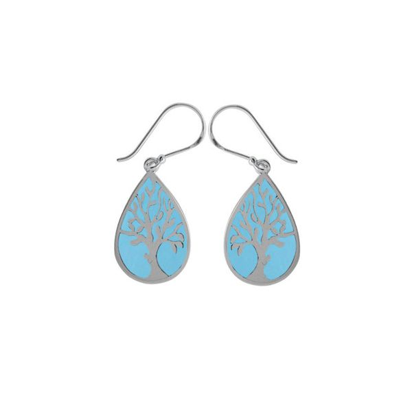 Sky Blue Resin  Tree Earrings Darrah Cooper, Inc. Lake Placid, NY