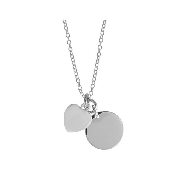 Satin Heart with Polished Disc Charm Necklace Darrah Cooper, Inc. Lake Placid, NY
