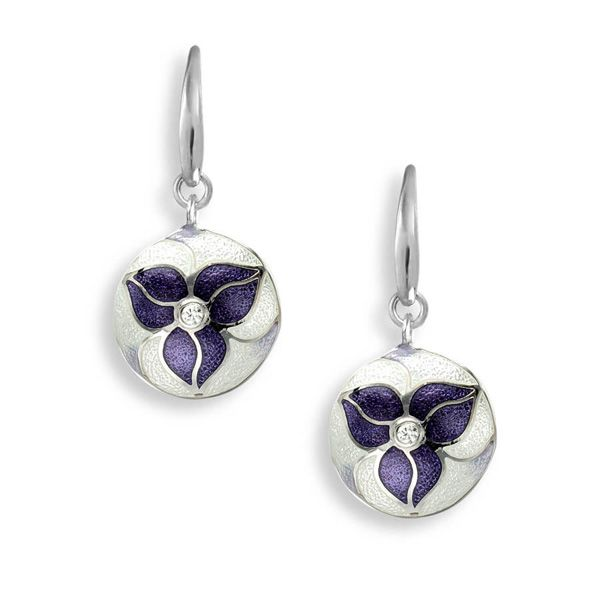 Enamel White and Purple White Sapphire Trillium Earrings Darrah Cooper, Inc. Lake Placid, NY