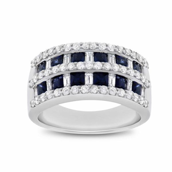 Square Sapphire Diamond Ring Image 3 Forever Diamonds New York, NY