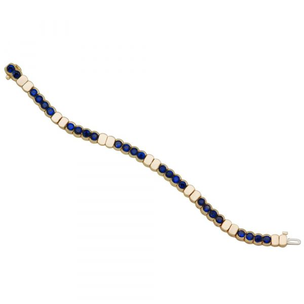 Blue sapphire and gold link bracelet Image 2 Fox Fine Jewelry Ventura, CA