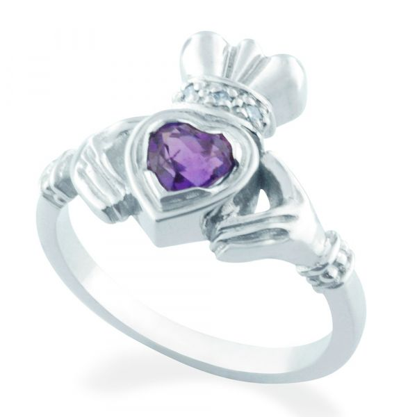 Claddagh Amethyst and Diamond Ring