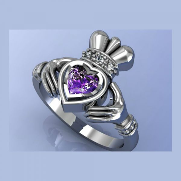 Claddagh Amethyst and Diamond Ring (Render)