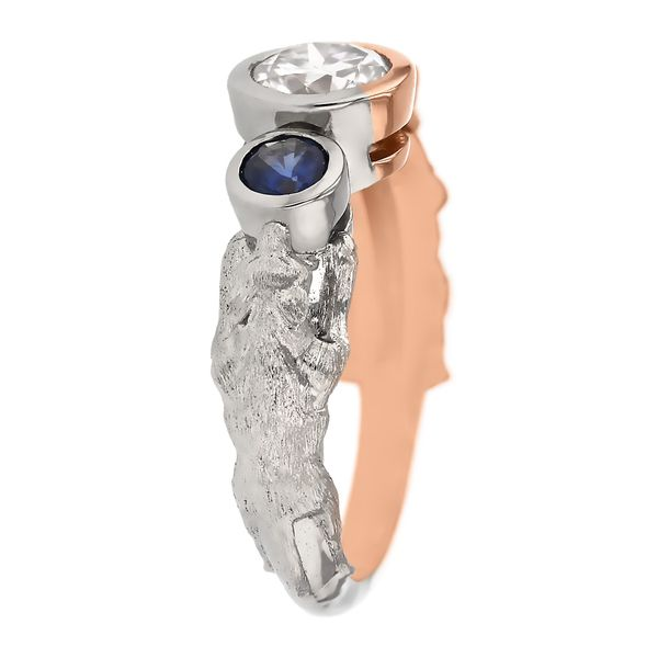 Wolf and Otter Spirit Animal Engagement Ring Image 3 Fox Fine Jewelry Ventura, CA