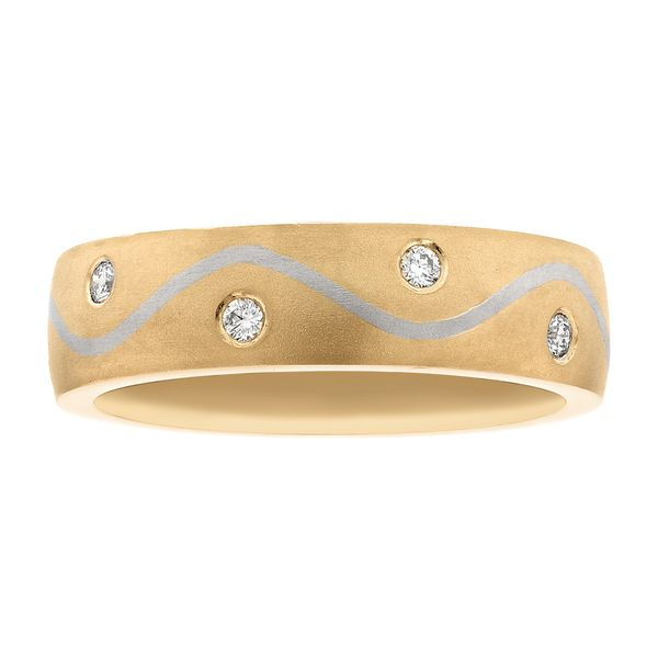 Yellow gold band with white gold swirl and diamonds