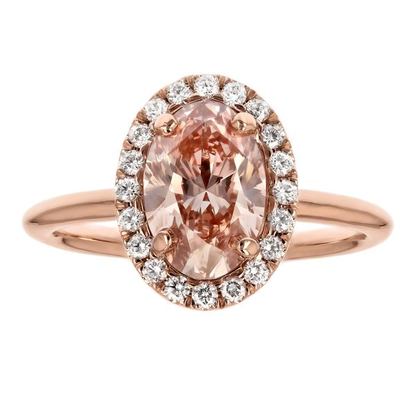 Pink Oval Diamond Halo Engagement Ring